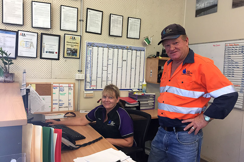 Lisa and Colin in Lee Crane Hire Office
